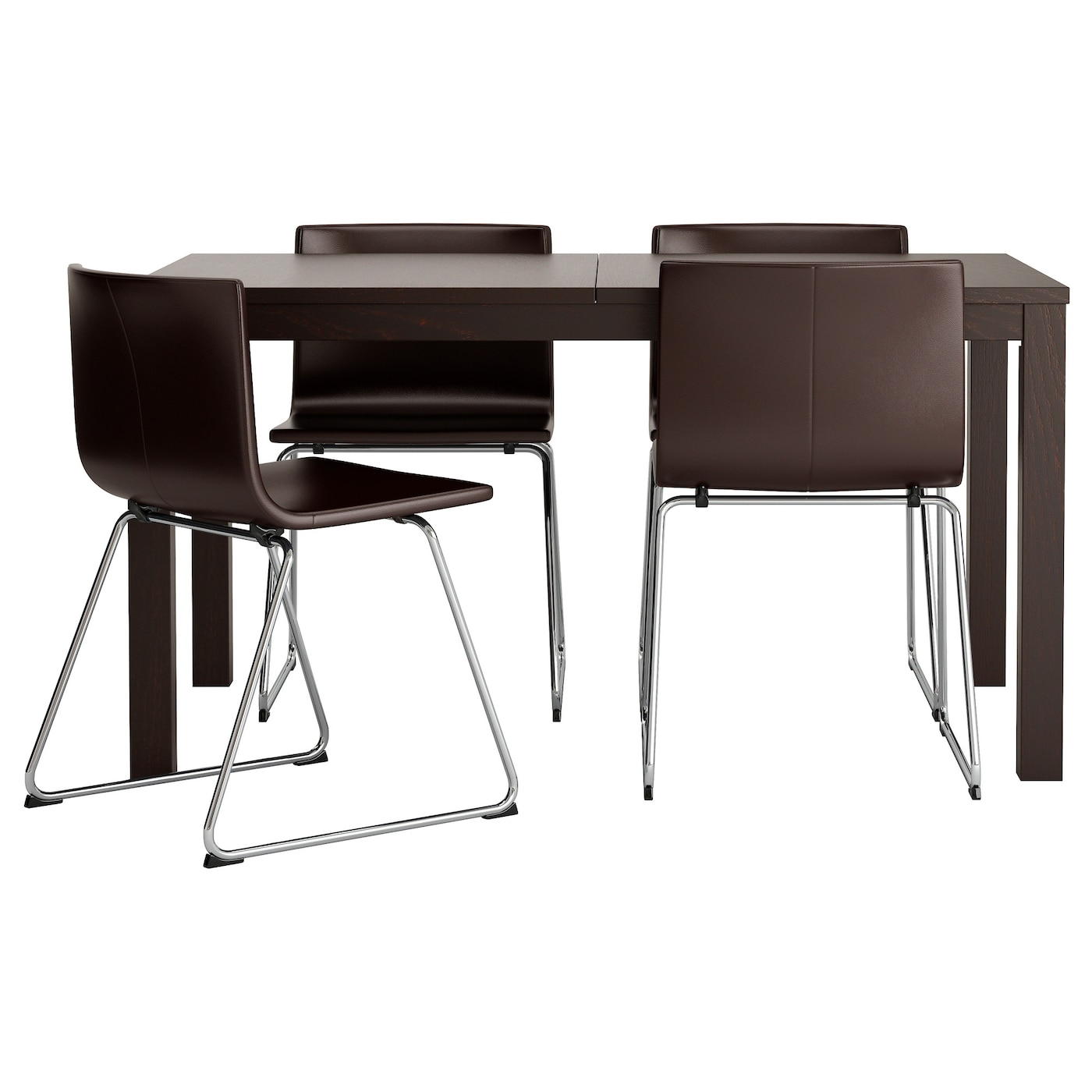 Bernhard bjursta table and 4 chairs brown black kavat dark for Ikea dining table and chairs set