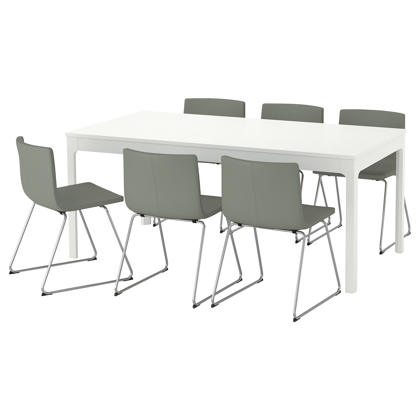 bernhard ekedalen table and 6 chairs white 180 240 cm ikea