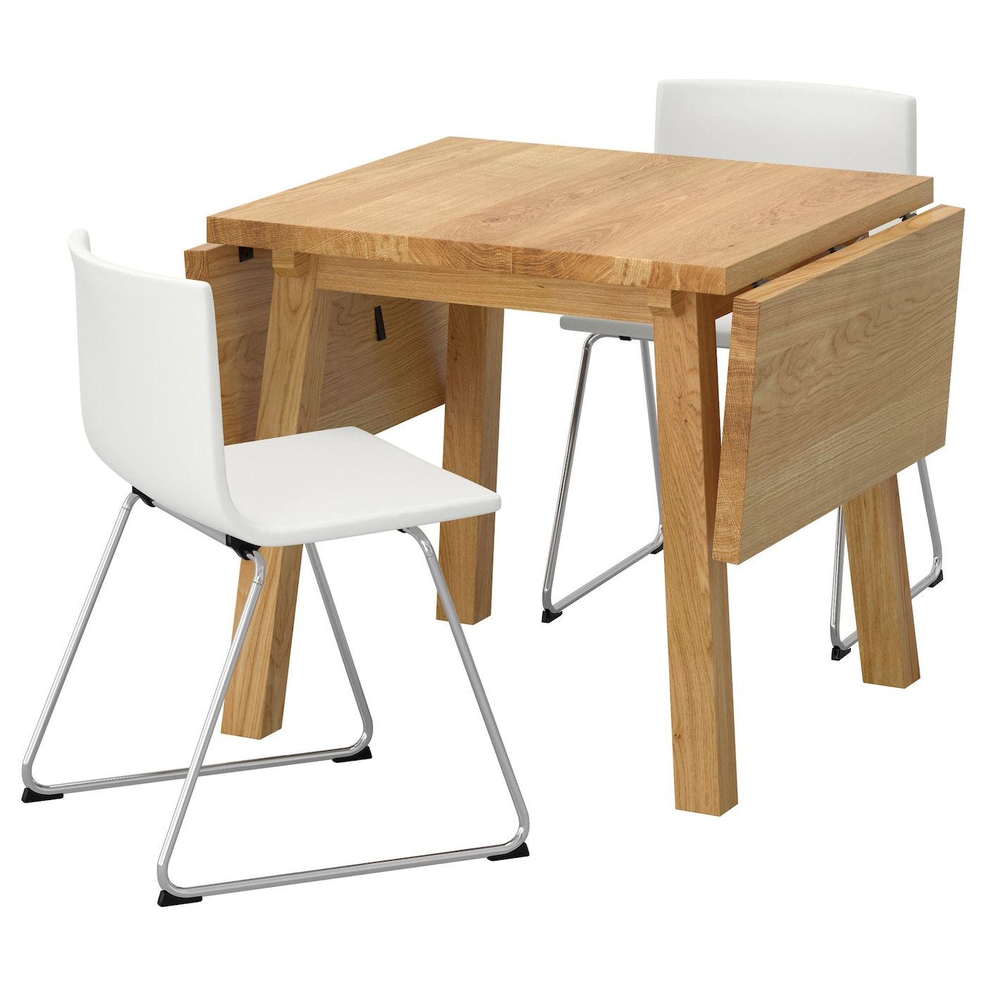 Bernhard m ckelby table and 2 chairs oak white 79 cm ikea for Table 6 personnes ikea