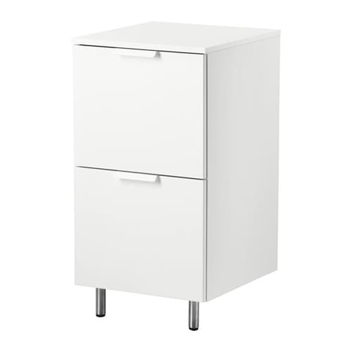 IKEA BERSEN laundry cabinet Smooth-running and soft-closing drawers with pull out stop.