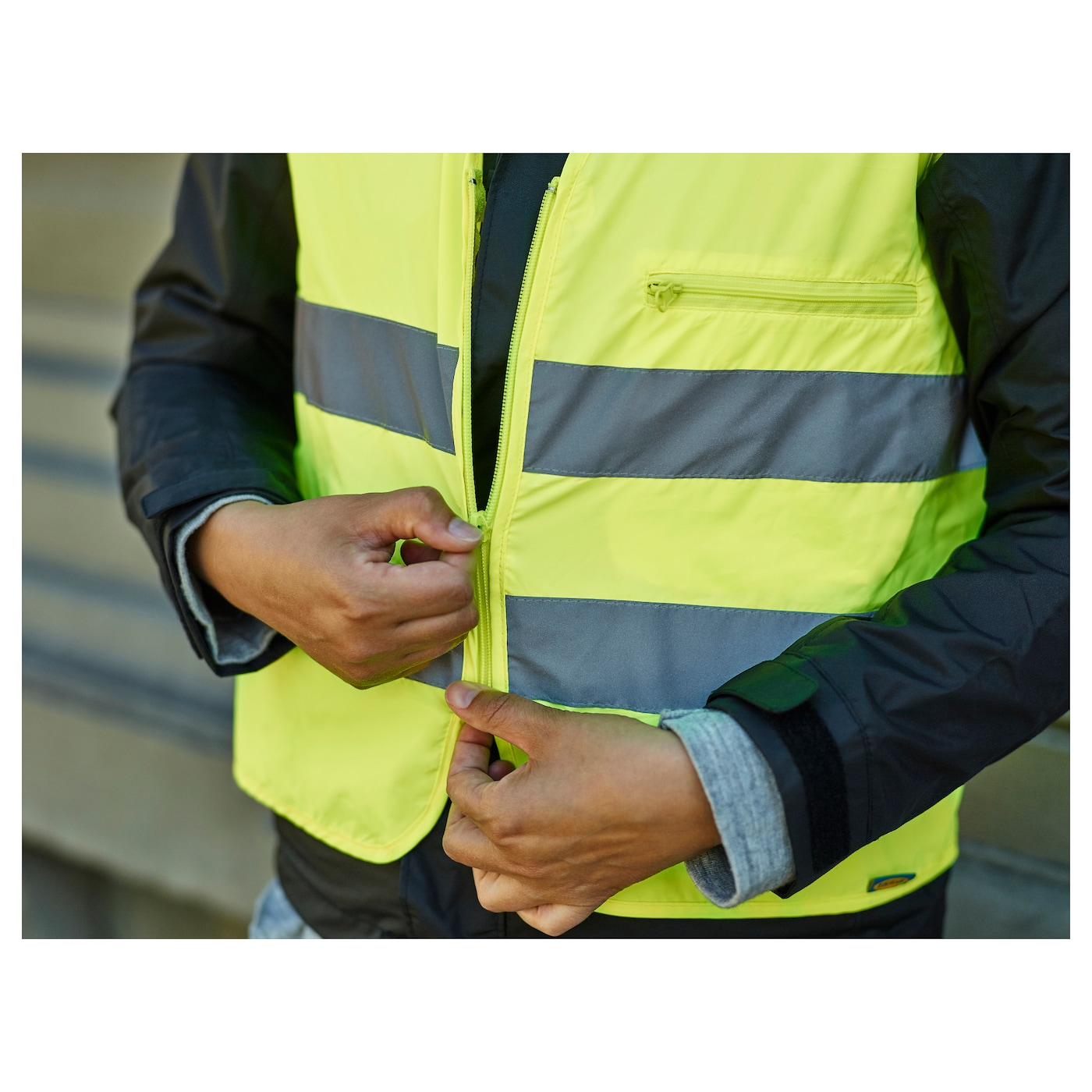 IKEA BESKYDDA reflective vest Folds small enough to fit in your coat pocket or bag.