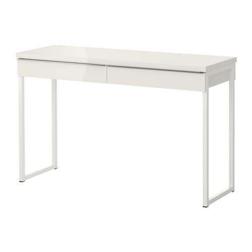 Best burs desk high gloss white 120x40 cm ikea for Bureau blanc ikea