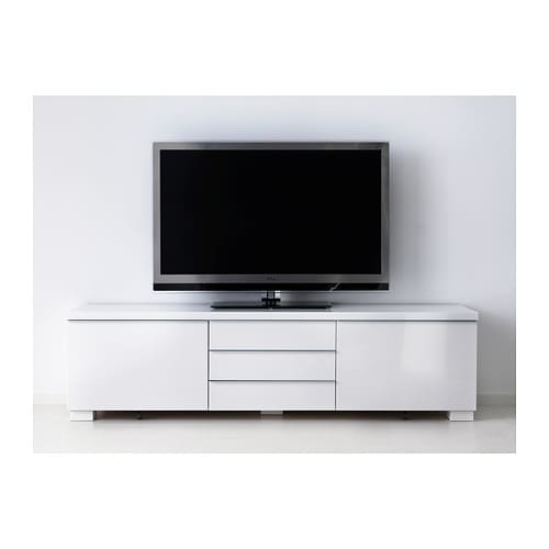 Best burs tv bench high gloss white 180x41 cm ikea for Ikea meuble mural besta