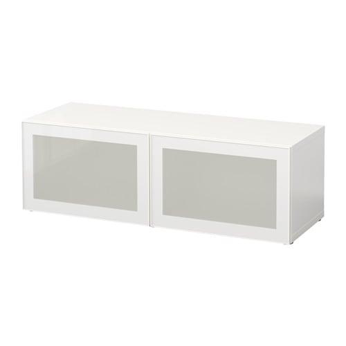 Besta Shelf Unit With Glass Doors White Glassvik White Frosted