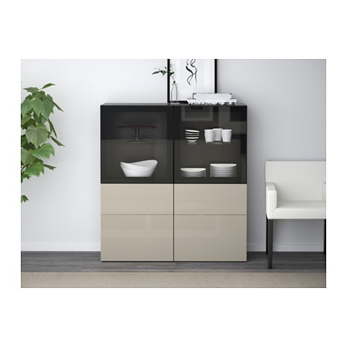 Ikea Besta Vitrine bestå storage combination w glass doors black brown selsviken high
