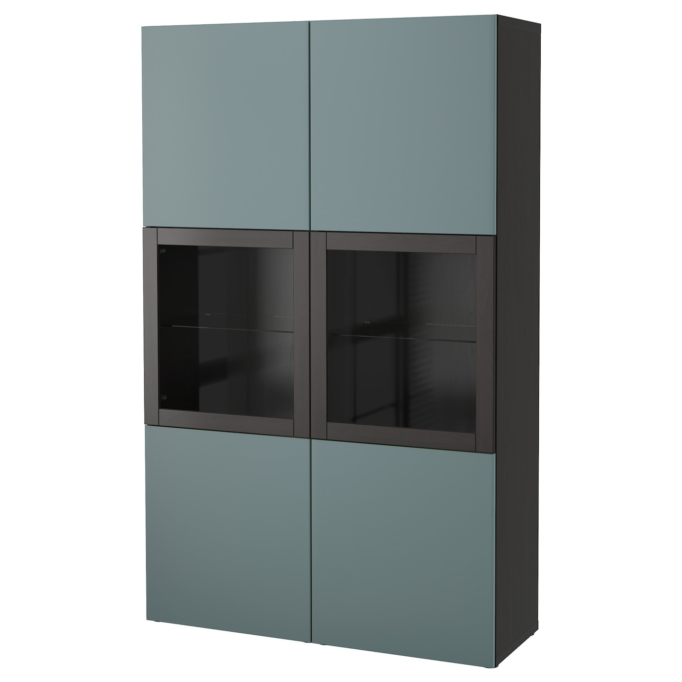 Best Storage Combination W Glass Doors Black Brown Valviken Grey Turquoise Clear Glass