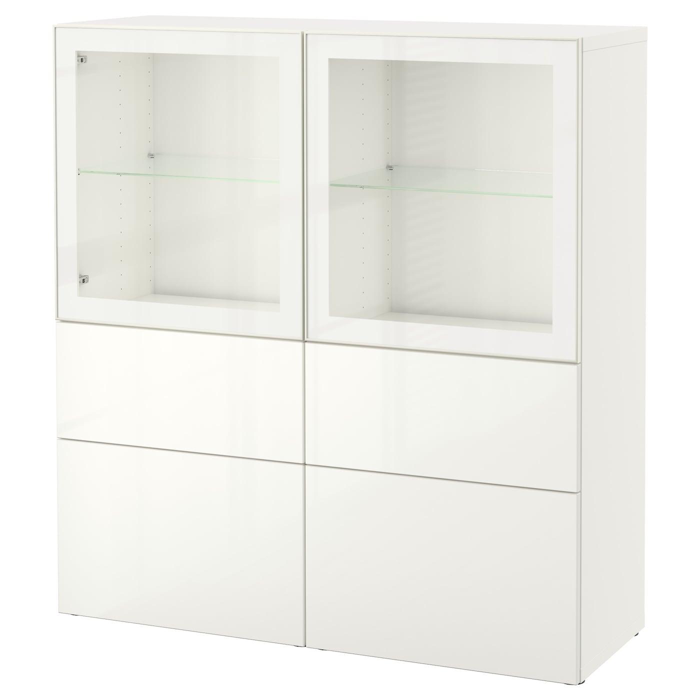 Best Storage Combination W Glass Doors White Selsviken High Gloss  # Meuble Vitrine Ikea