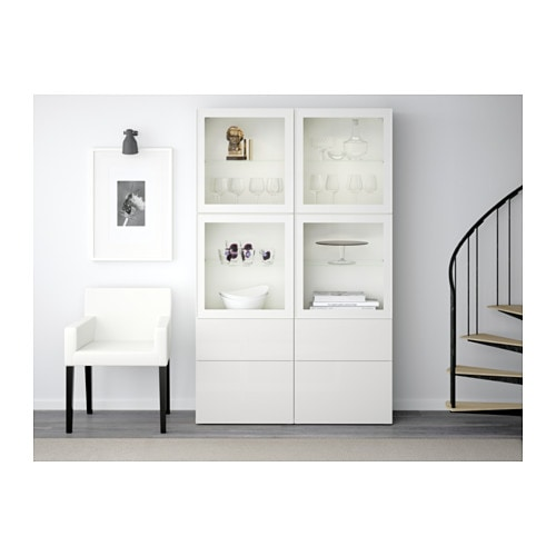 best storage combination w glass doors white selsviken high gloss white clear glass 120x40x192. Black Bedroom Furniture Sets. Home Design Ideas