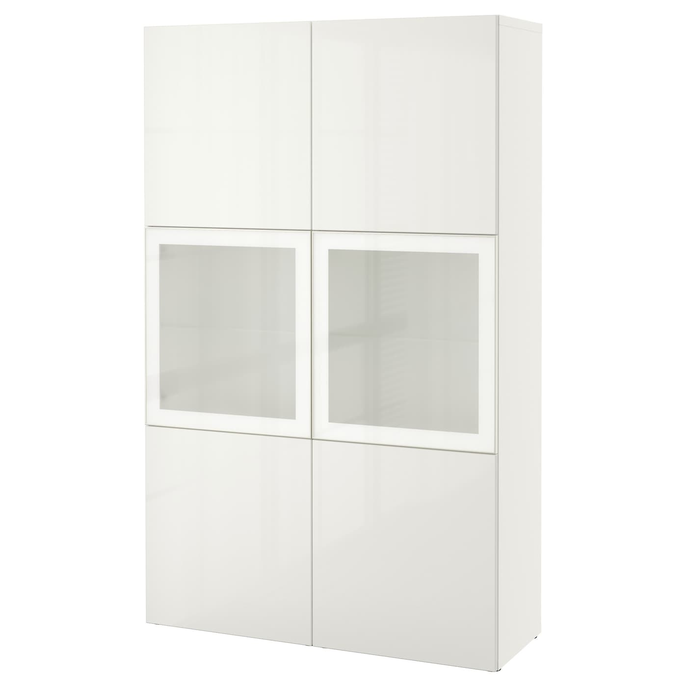 Best storage combination w glass doors white selsviken high gloss white fros - Vitrine en verre ikea ...