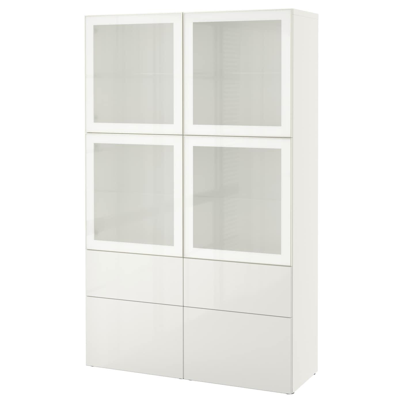 best storage combination w glass doors white selsviken. Black Bedroom Furniture Sets. Home Design Ideas