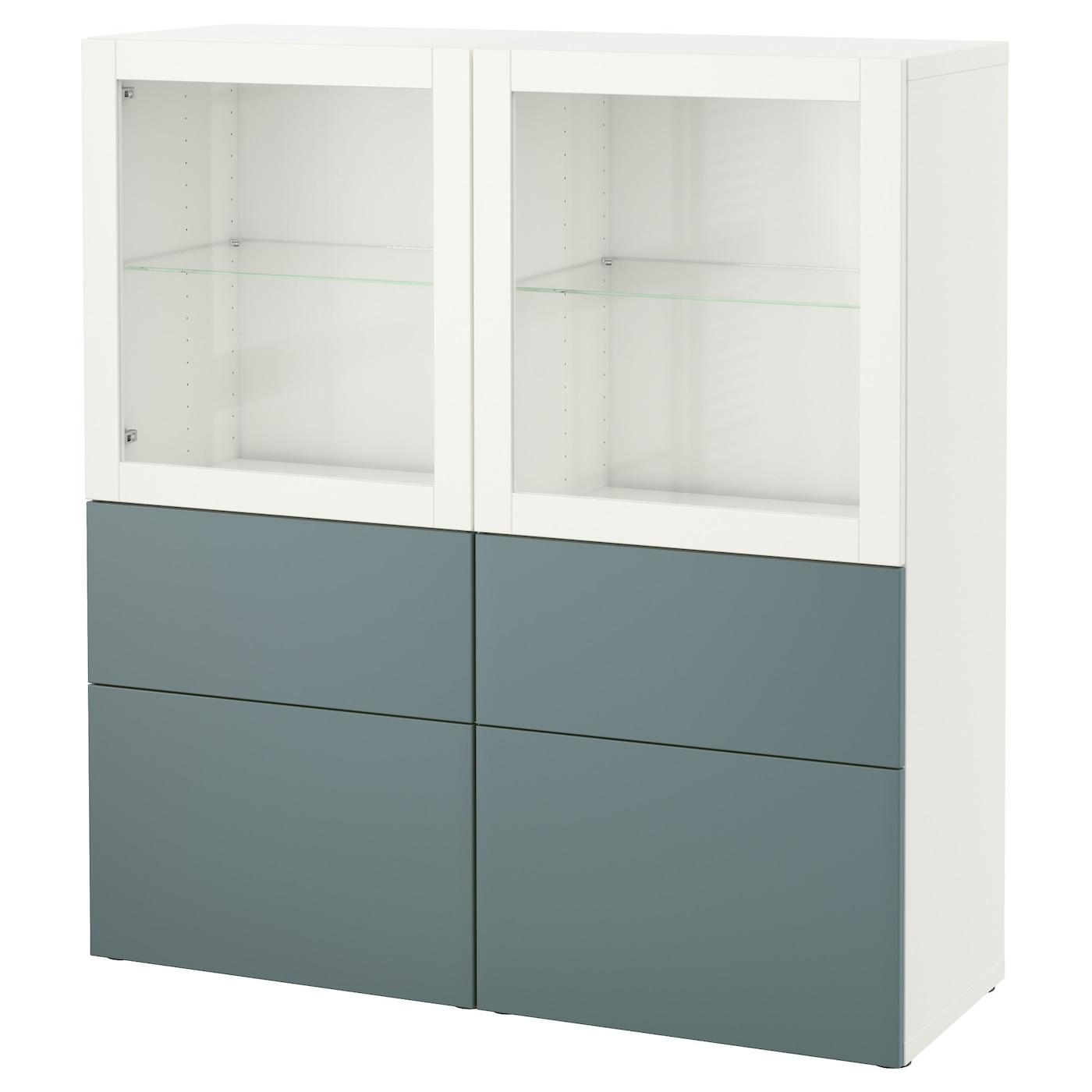 best storage combination w glass doors white valviken grey turquoise clear glass 120x40x128 cm. Black Bedroom Furniture Sets. Home Design Ideas