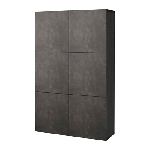 Best storage combination with doors black brown kallviken for Arbeitsplatte betonoptik ikea