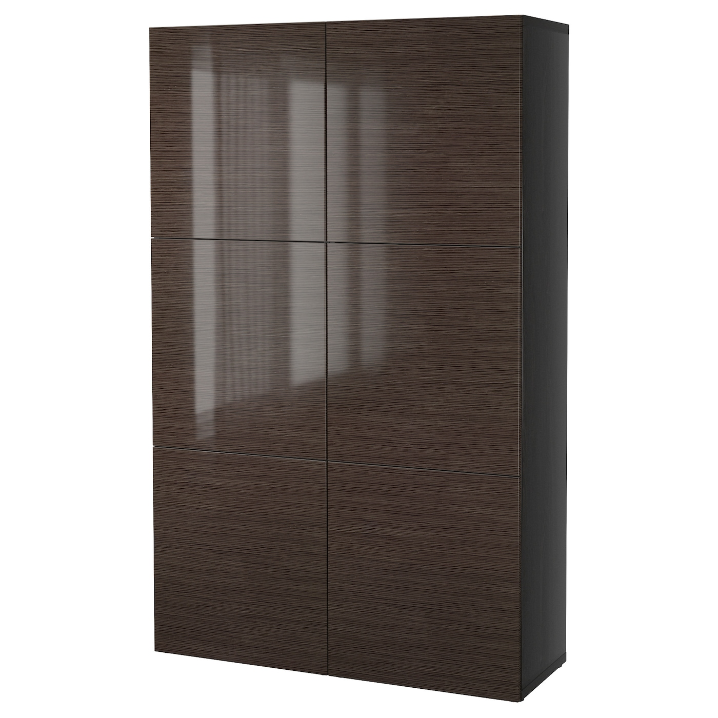 best storage combination with doors black brown selsviken high gloss brown 120x40x192 cm ikea. Black Bedroom Furniture Sets. Home Design Ideas