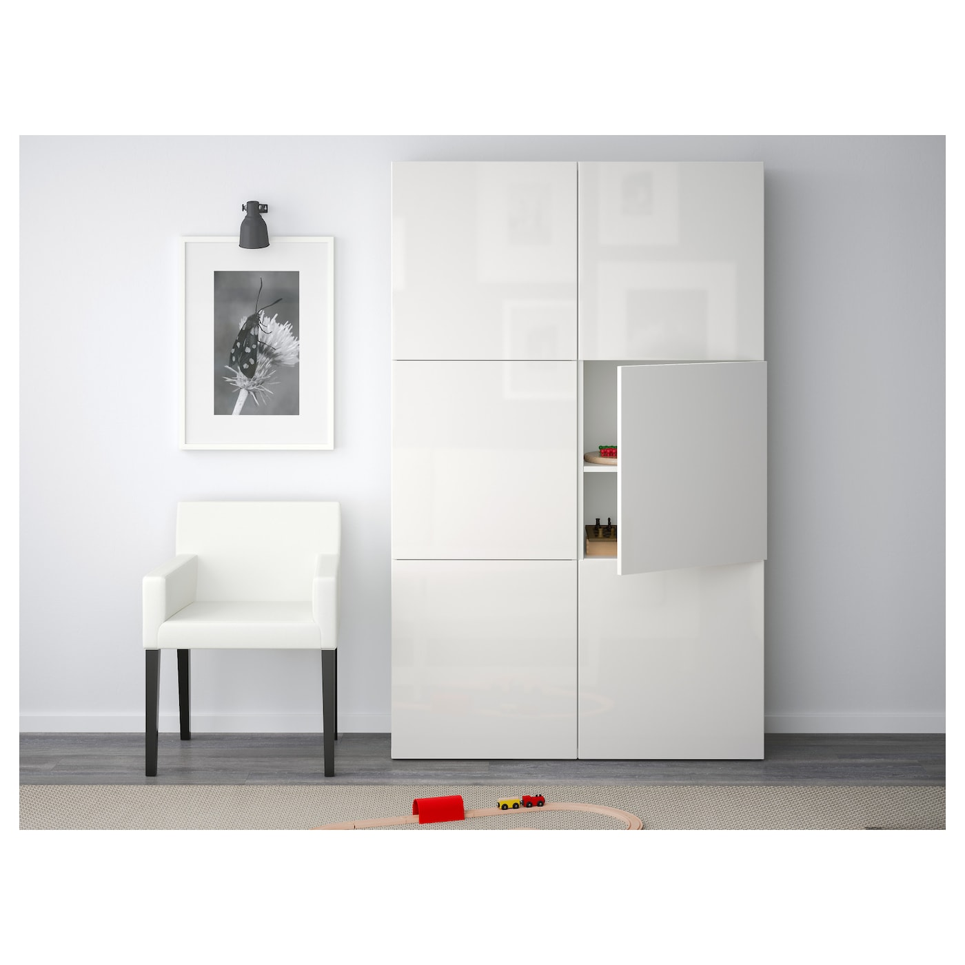 best storage combination with doors white selsviken high gloss white 120x40x192 cm ikea. Black Bedroom Furniture Sets. Home Design Ideas