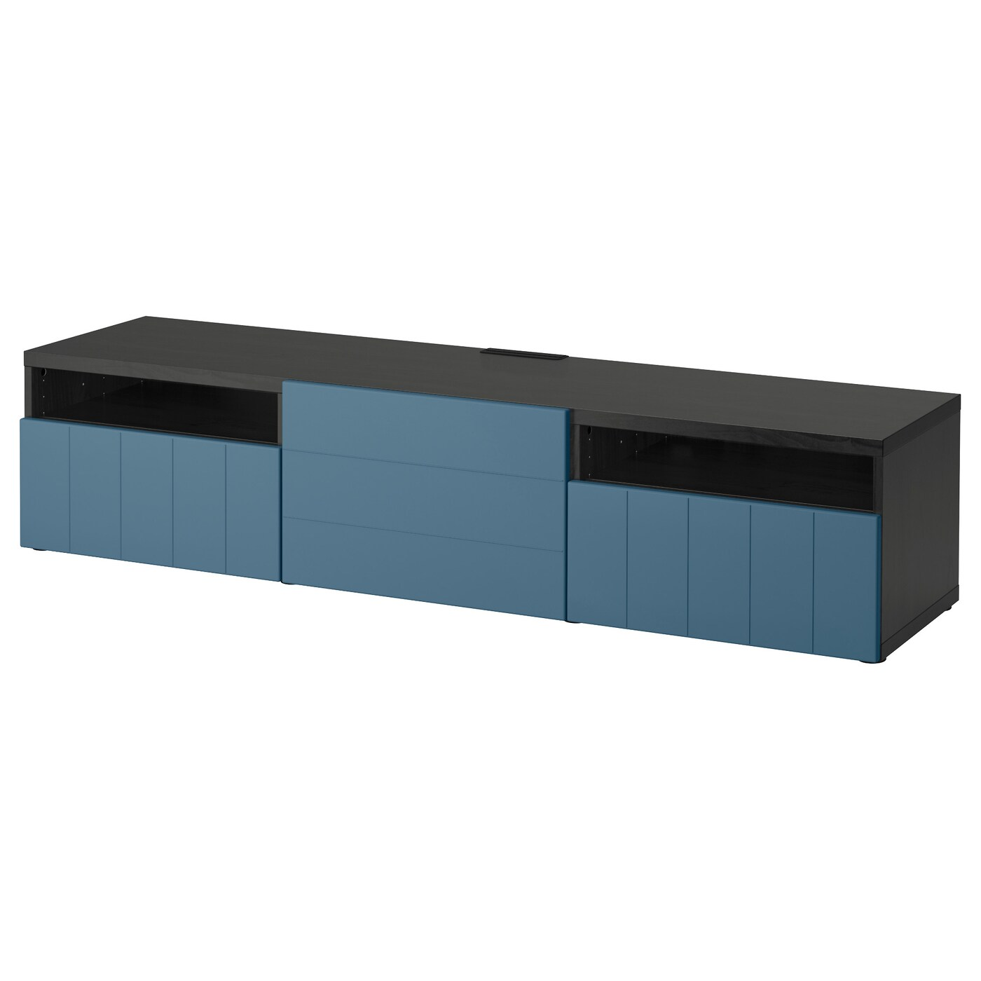 best tv bench black brown hallstavik dark blue 180x40x38 cm ikea. Black Bedroom Furniture Sets. Home Design Ideas