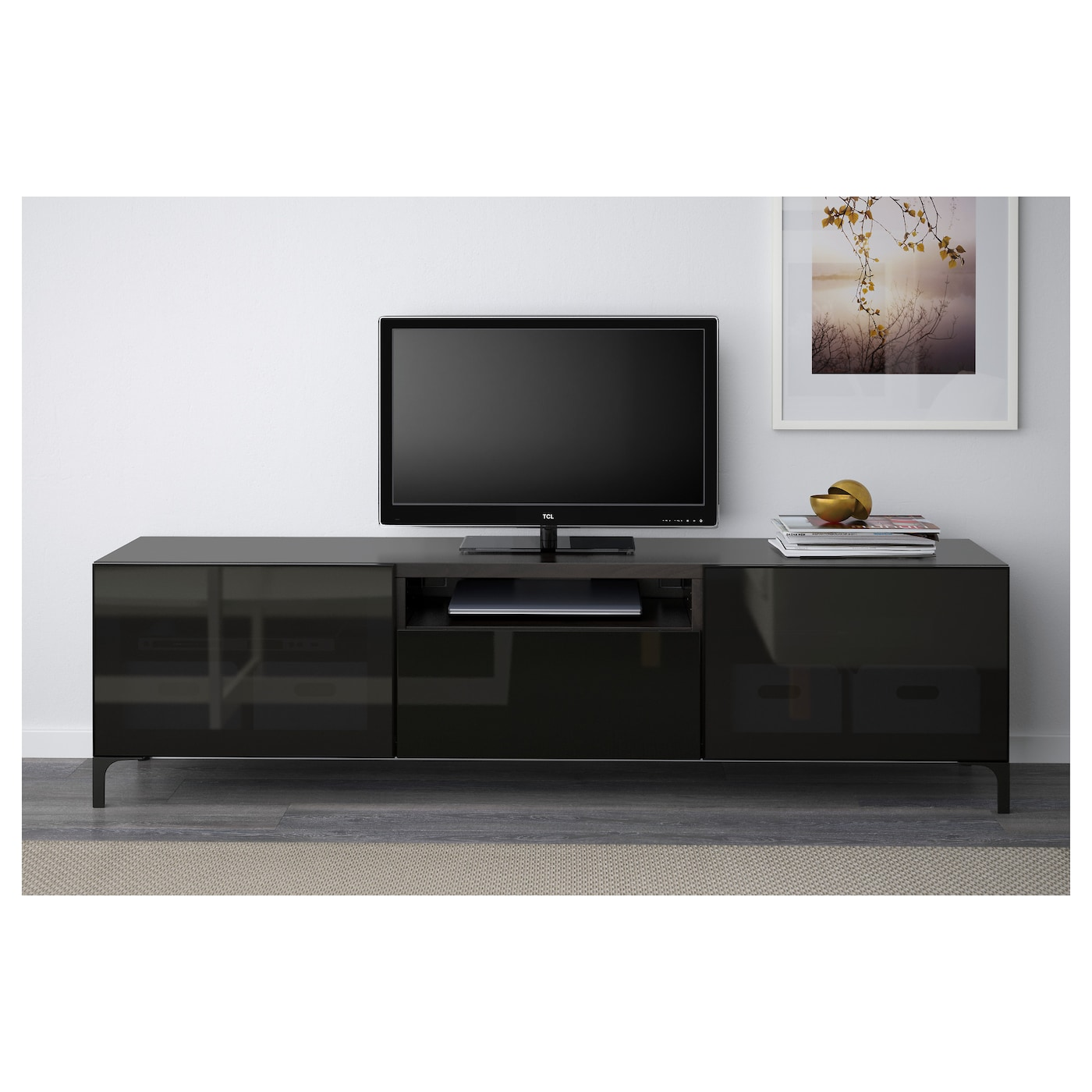 best tv bench black brown selsviken high gloss black smoked glass 180 x 40 x 48 cm ikea. Black Bedroom Furniture Sets. Home Design Ideas