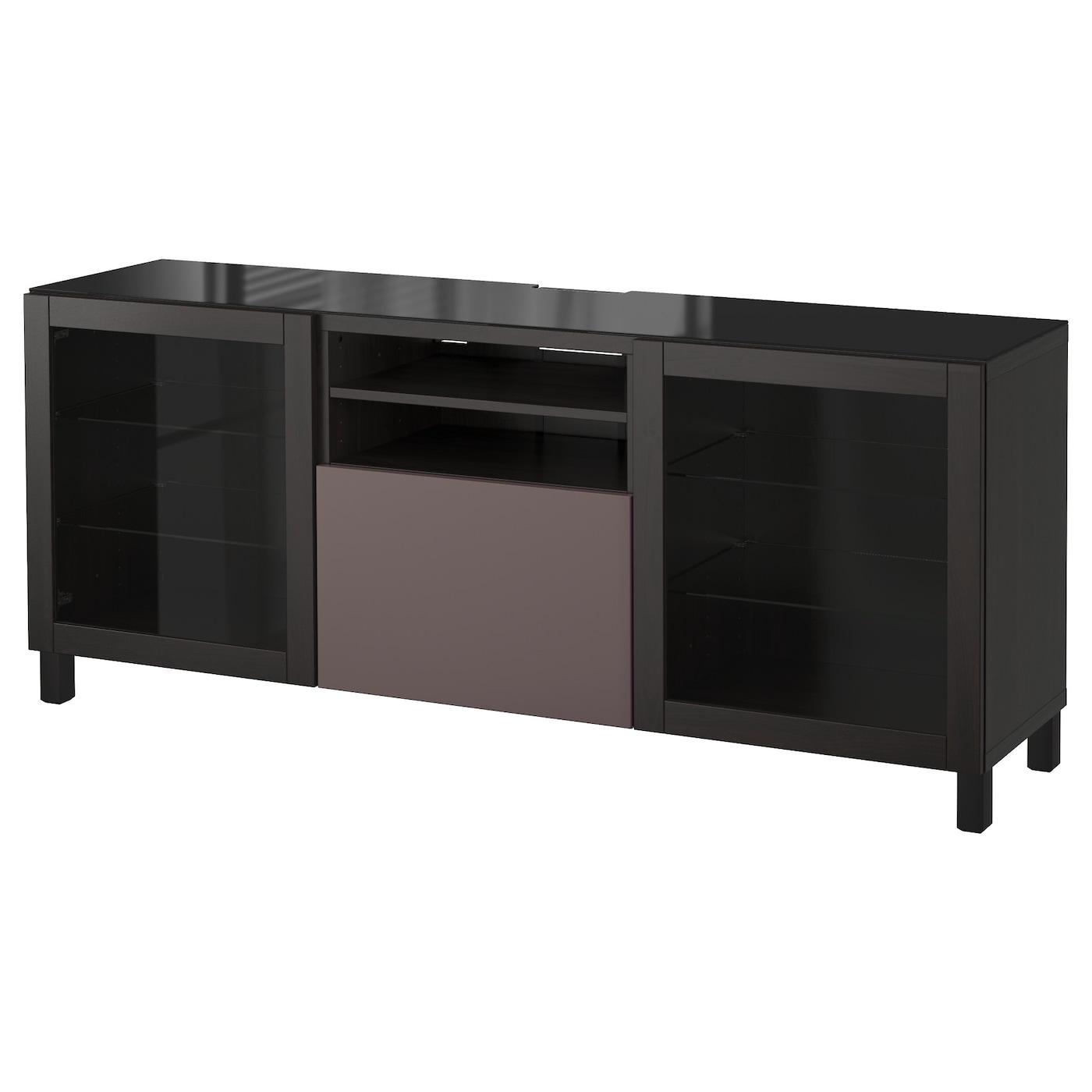 Best Tv Bench Black Brown Valviken Dark Brown Clear Glass 180x40x74 Cm Ikea