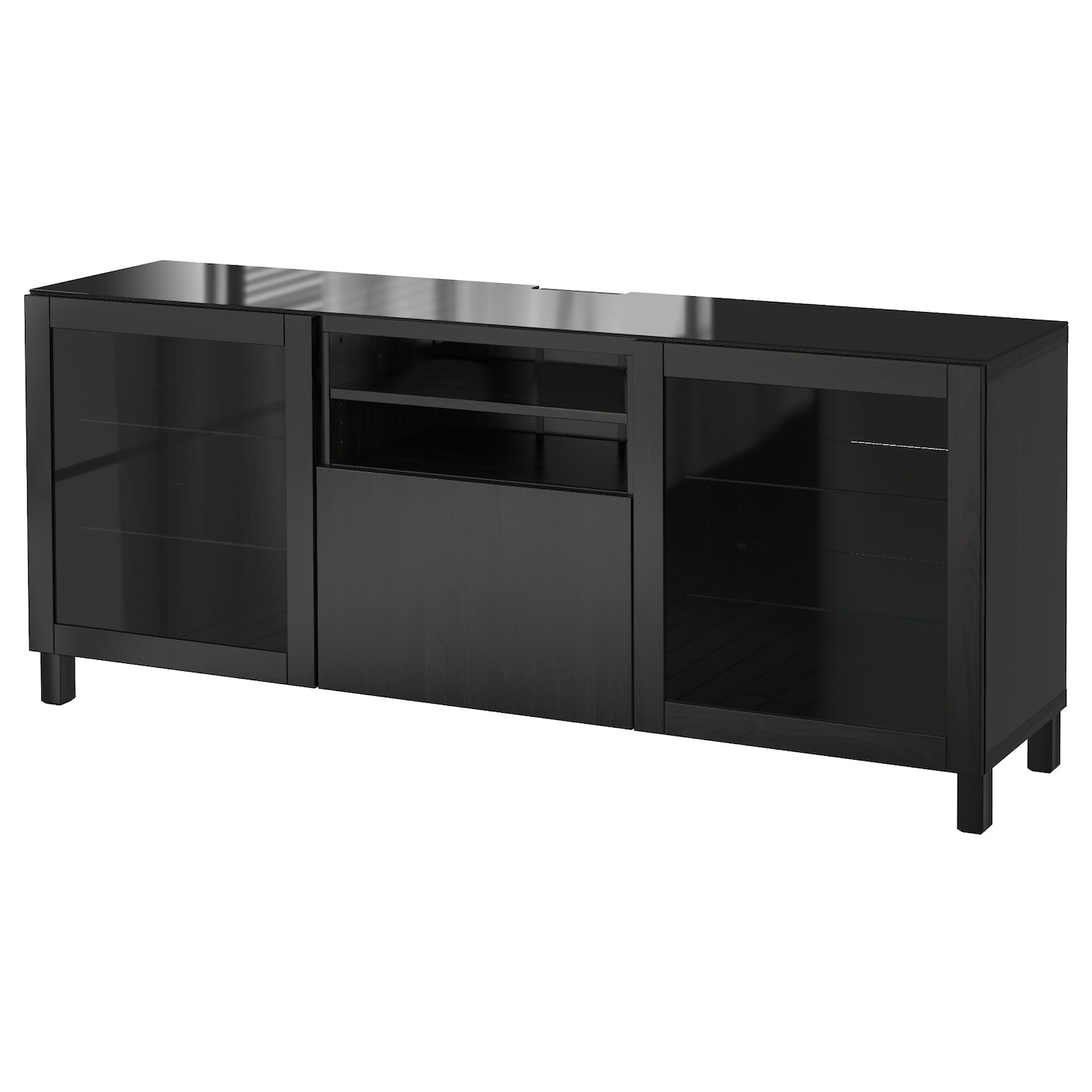 Best Tv Bench Lappviken Sindvik Black Brown Clear Glass 180x40x74 Cm Ikea