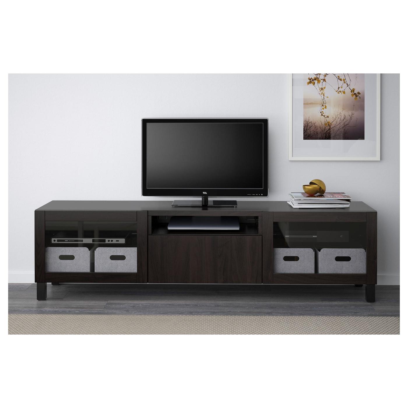 Besta Ikea Cabinet Best 197 Tv Bench Lappviken Sindvik Black Brown Clear Glass