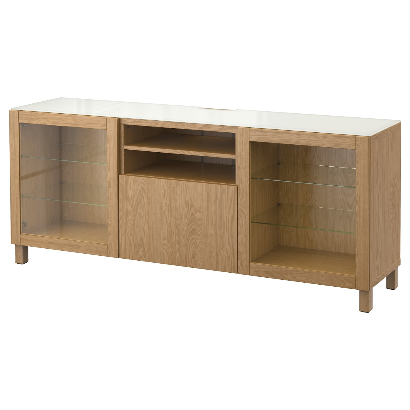best tv bench lappviken sindvik oak effect clear glass 180x40x74 cm ikea. Black Bedroom Furniture Sets. Home Design Ideas