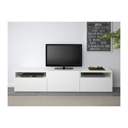 Best tv bench lappviken white 180x40x38 cm ikea - Meuble tv besta blanc ...