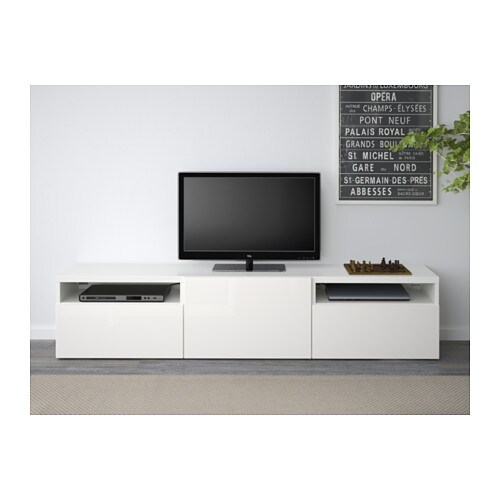 Best tv bench white selsviken high gloss white 180x40x38 cm ikea - Ikea meuble besta tv ...