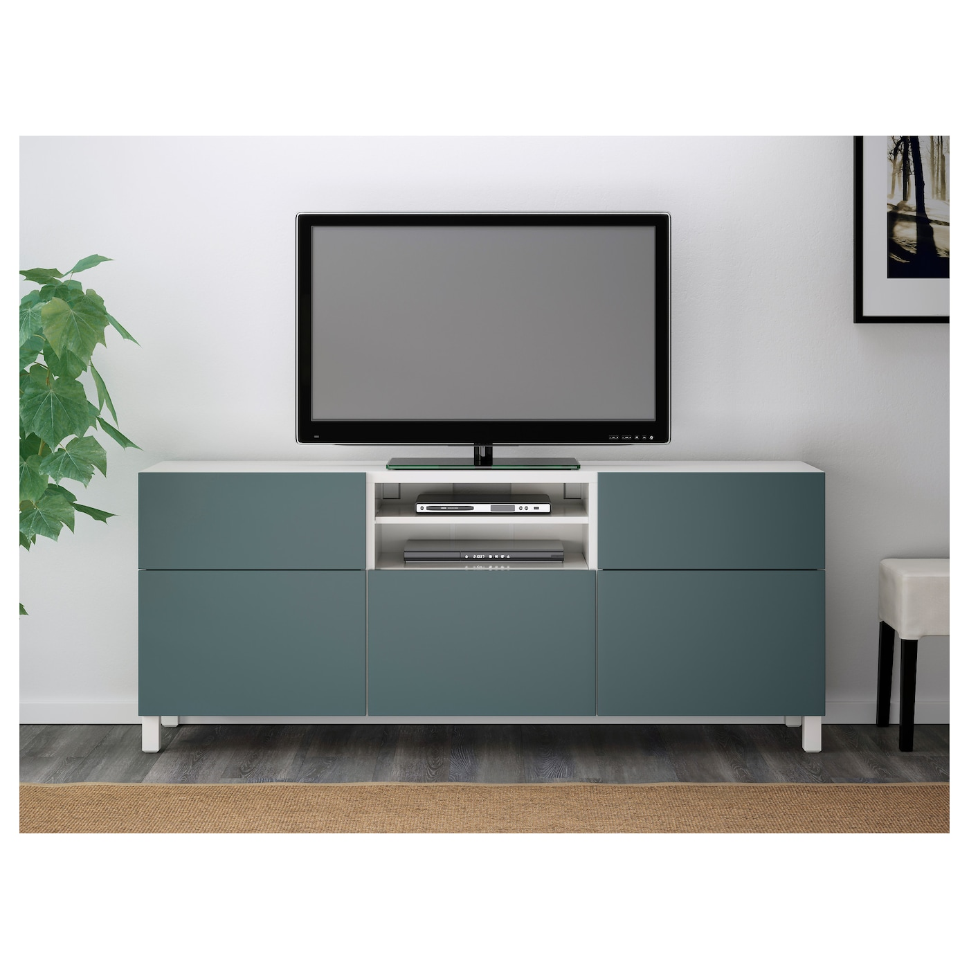 BESTÅ TV bench White/valviken grey-turquoise 180 x 40 x 74 ...