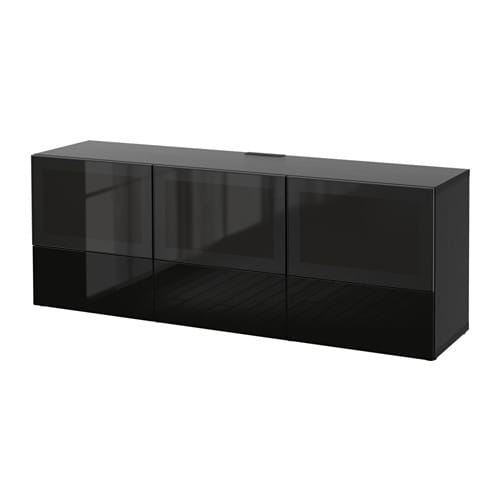 best tv bench with doors and drawers black brown selsviken high gloss black smoked glass. Black Bedroom Furniture Sets. Home Design Ideas