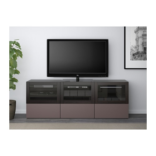 best tv bench with doors and drawers black brown valviken dark brown clear glass 180x40x64 cm. Black Bedroom Furniture Sets. Home Design Ideas