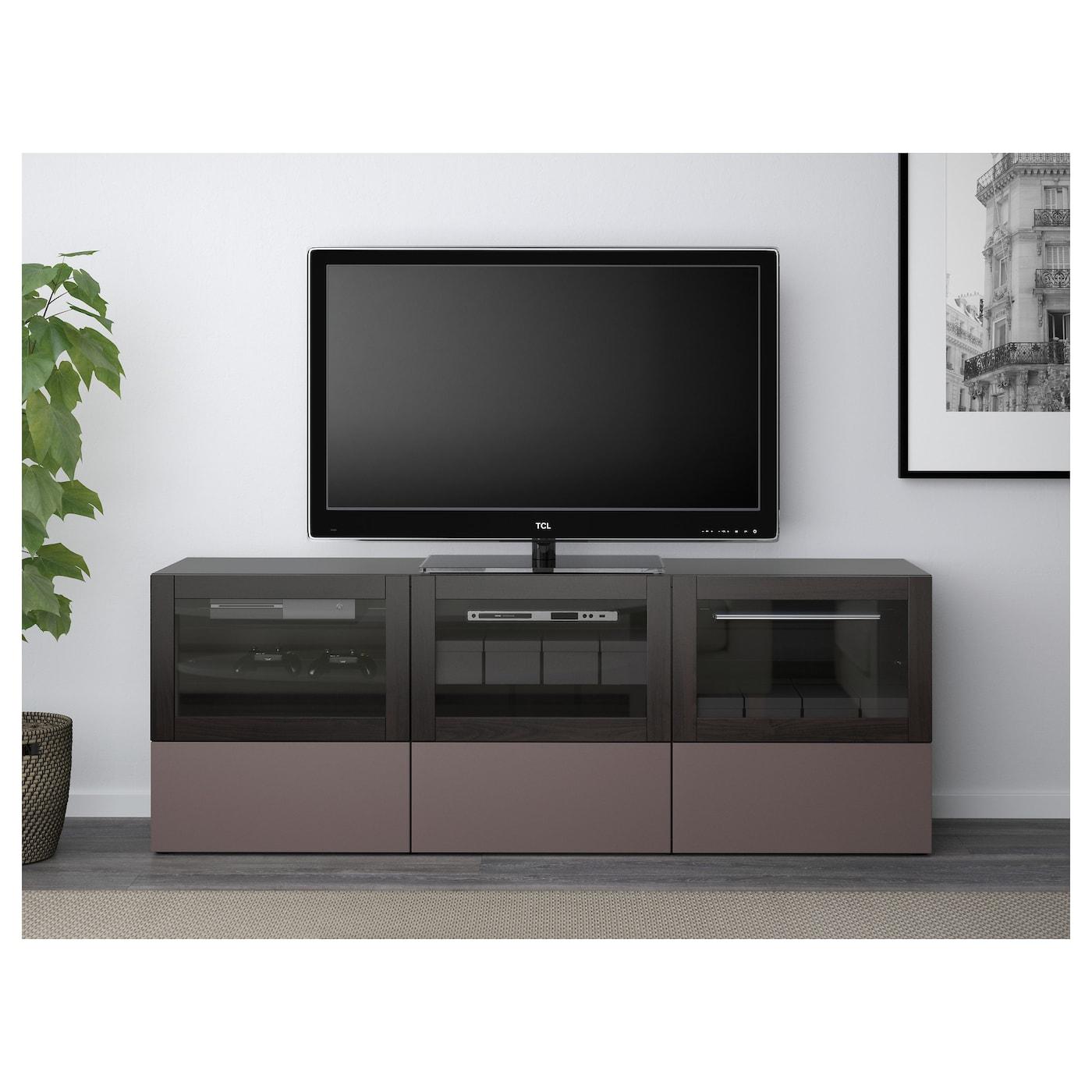 BEST… TV bench with doors and drawers Black brown valviken dark