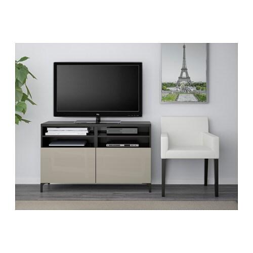 best tv bench with doors black brown selsviken high gloss beige 120x40x74 cm ikea. Black Bedroom Furniture Sets. Home Design Ideas