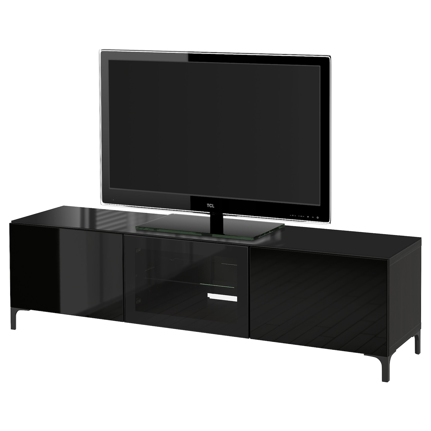 BEST u00c5 TV bench with doors Black brown  selsviken high gloss  black clear glass 180x40x48 cm   IKEA