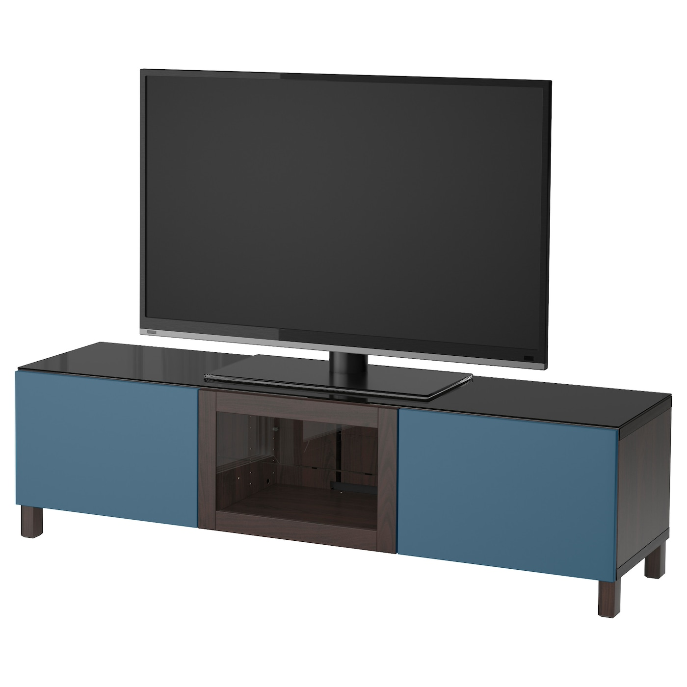 Best Tv Bench With Doors Black Brown Valviken Dark Blue Clear Glass 180x40x48 Cm Ikea