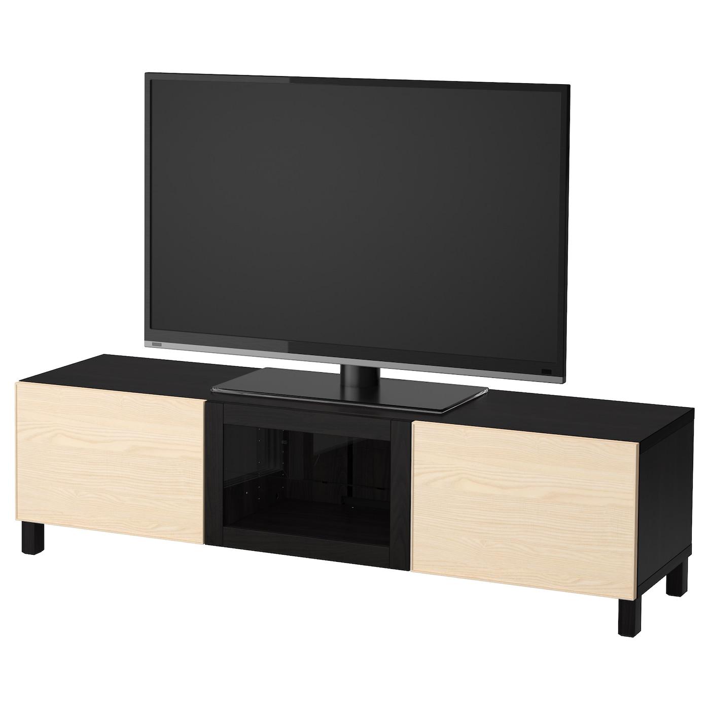 Best Tv Bench With Drawers And Door Black Brown Inviken Ash Veneer 180x40x48 Cm Ikea