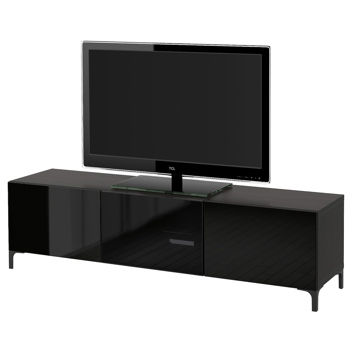 best tv bench with drawers and door black brown selsviken high gloss black smoked glass. Black Bedroom Furniture Sets. Home Design Ideas