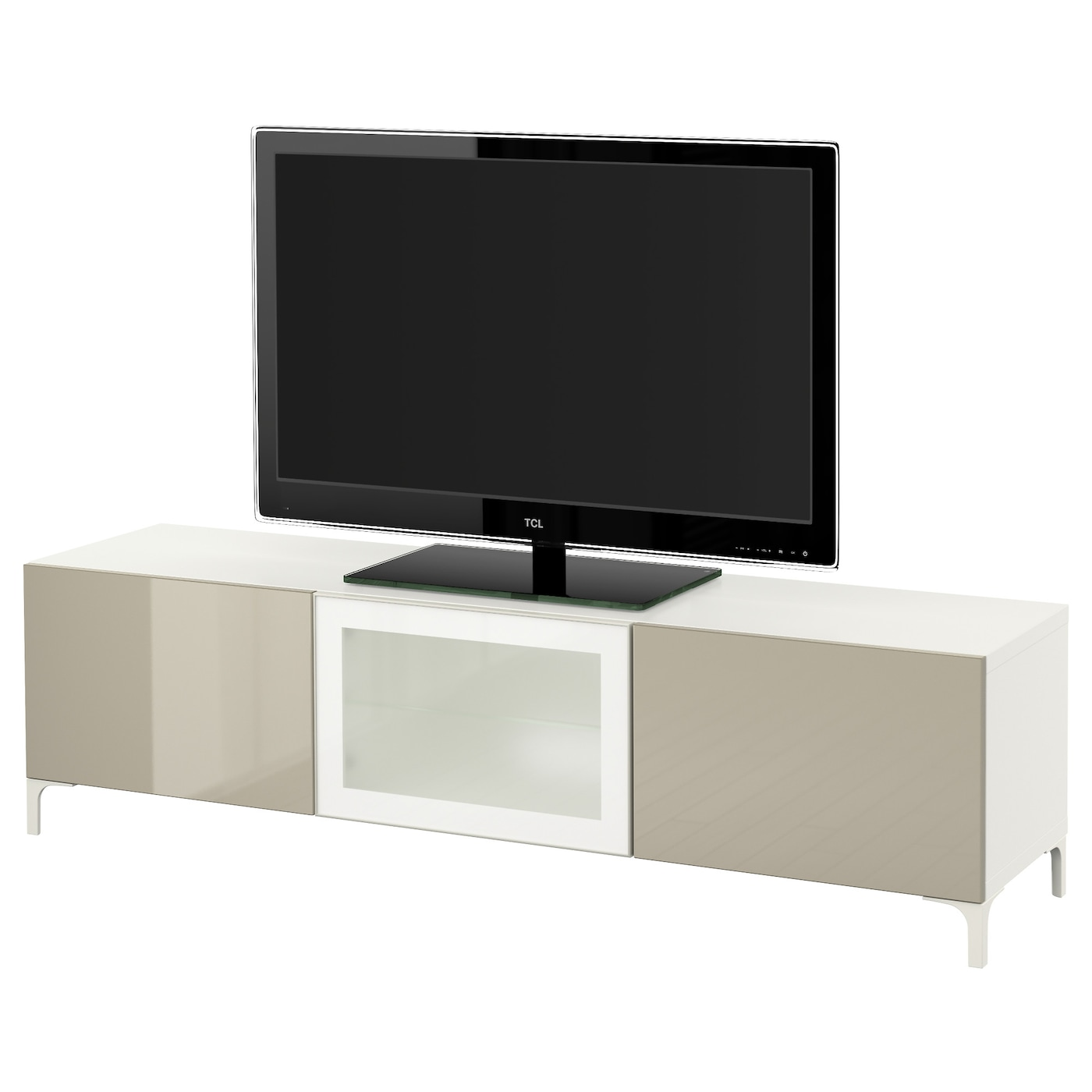 Best Tv Bench With Drawers And Door White Selsviken High Gloss Beige Frosted Glass 180x40x48 Cm