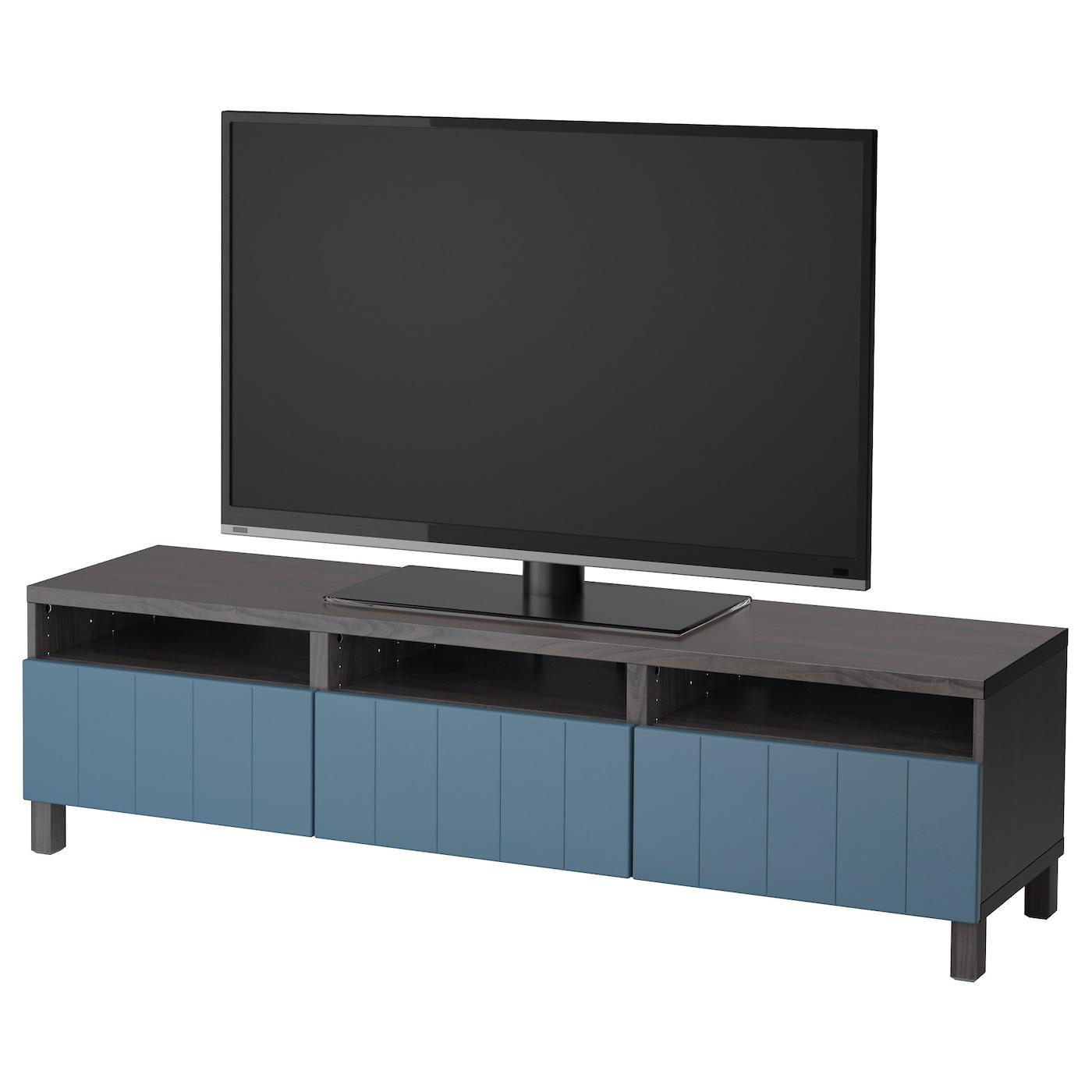 Best Tv Bench With Drawers Black Brown Hallstavik Dark Blue 180x40x48 Cm Ikea