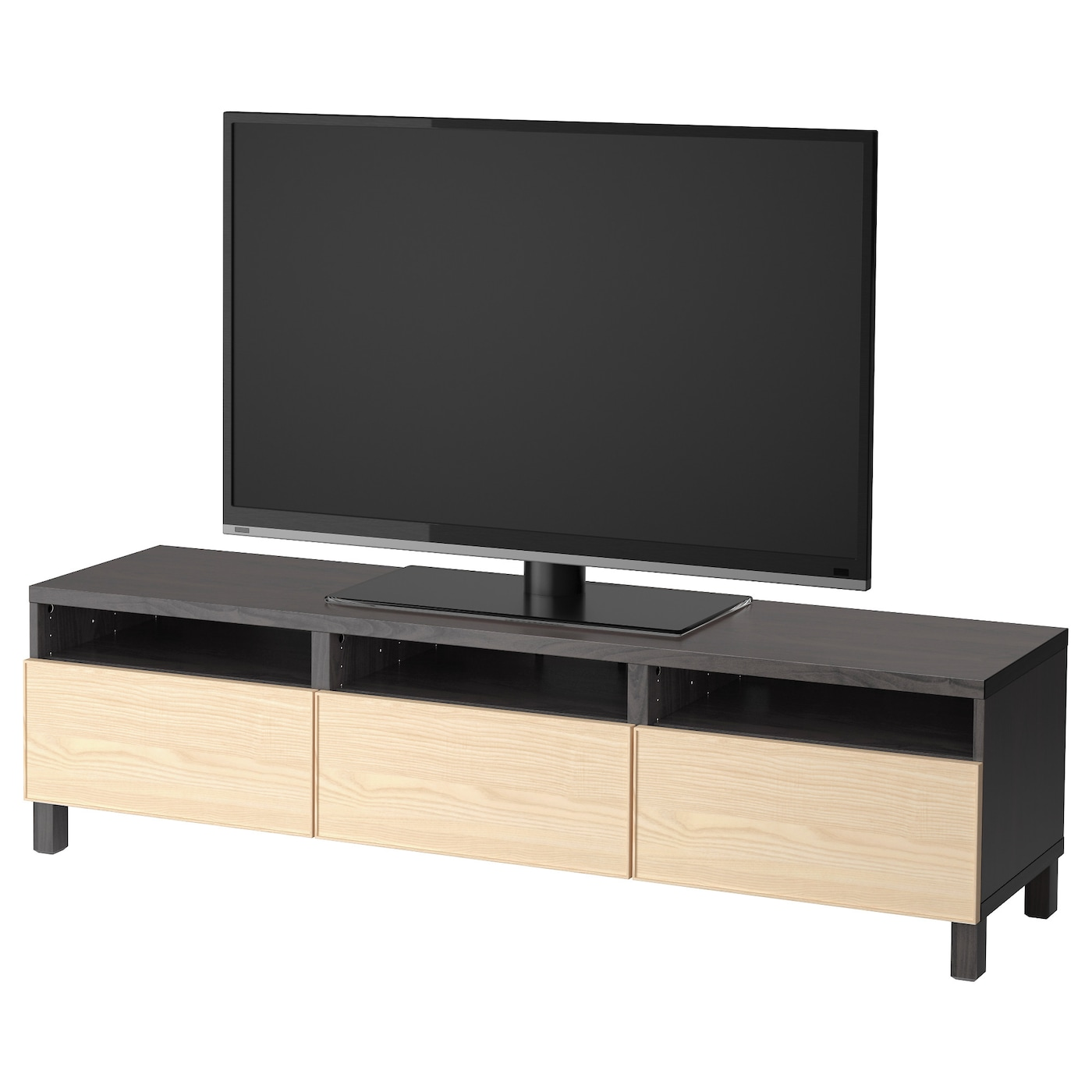Best Tv Bench With Drawers Black Brown Inviken Ash Veneer 180x40x48 Cm Ikea