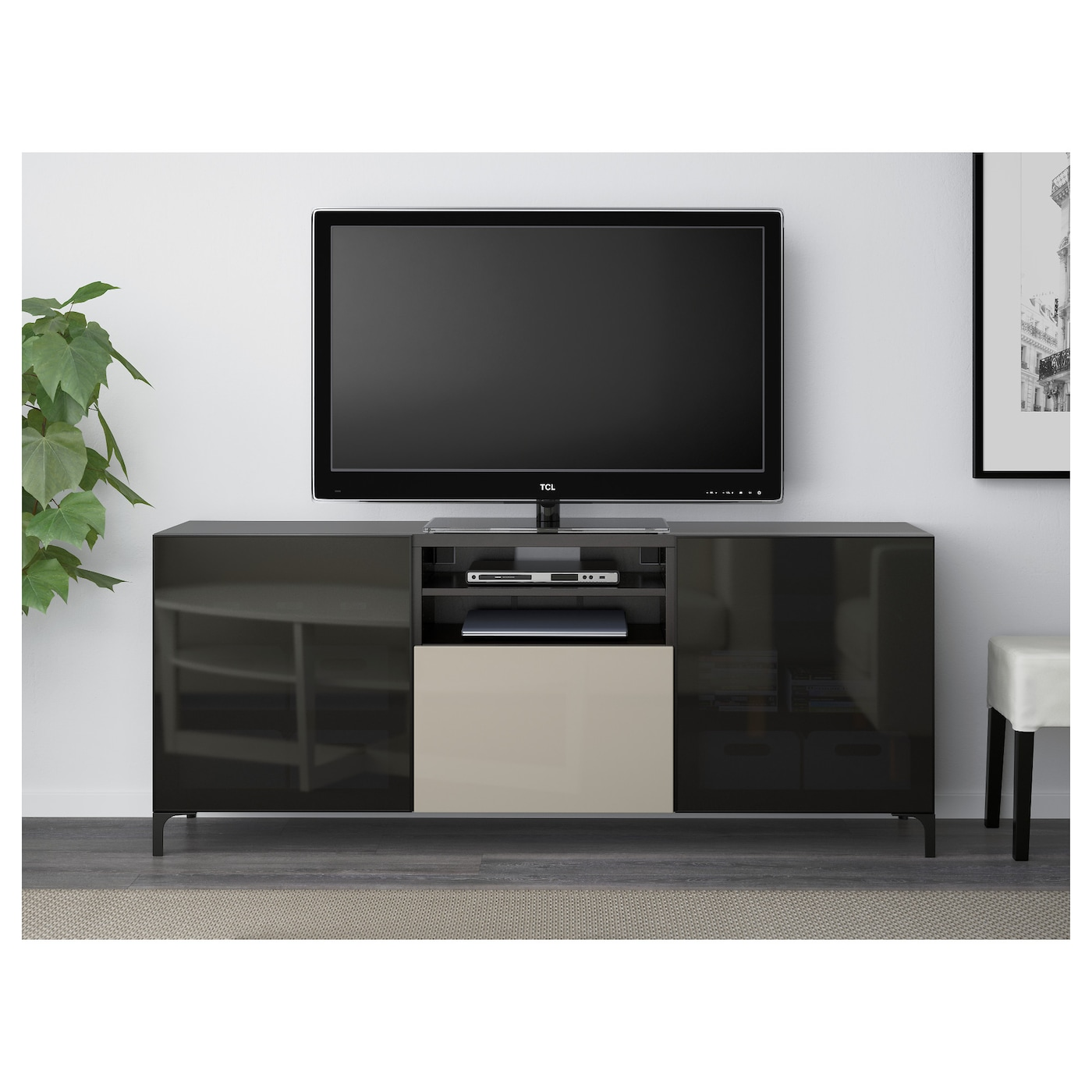 BESTÅ TV bench with drawers Black-brown/selsviken high ...