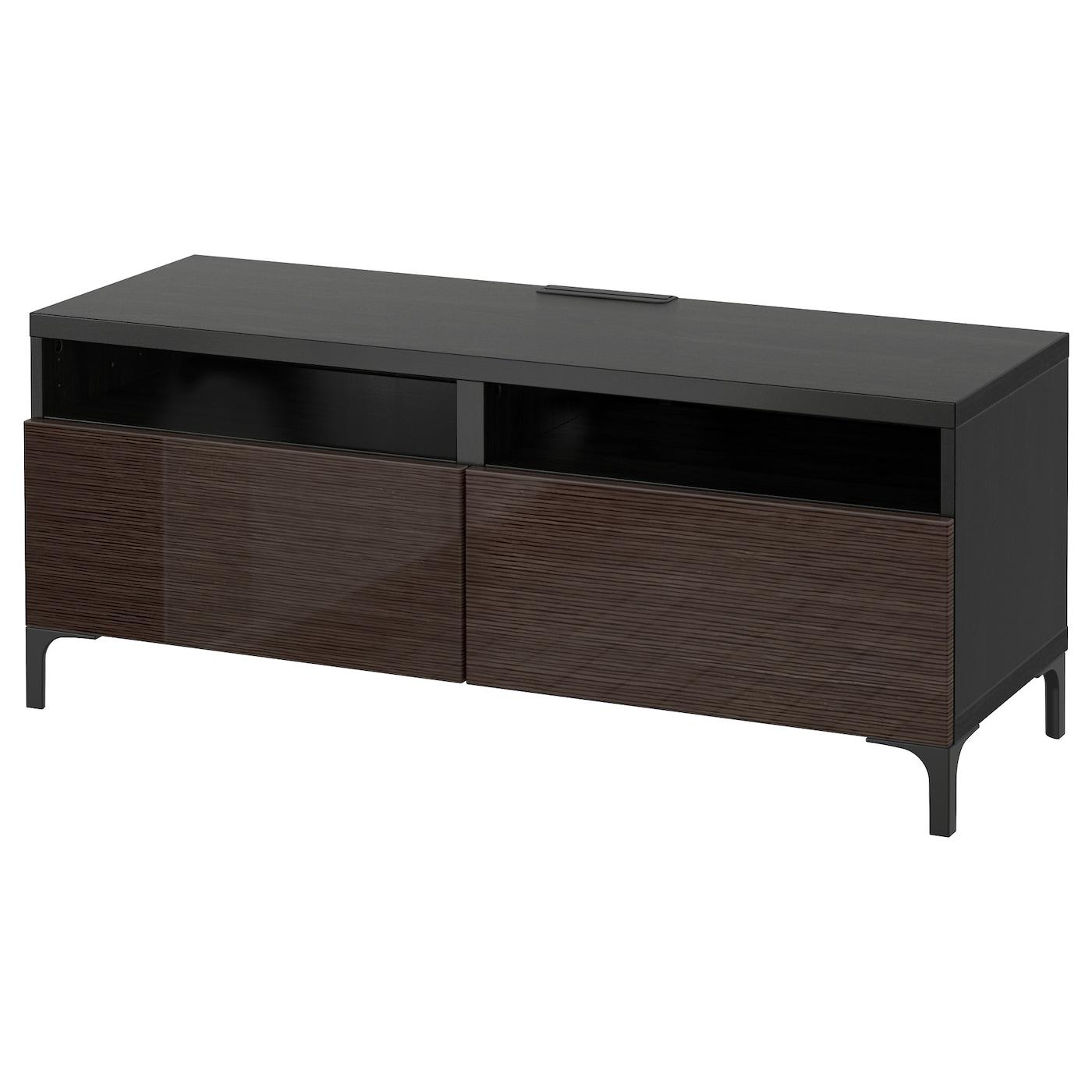 Best Tv Bench With Drawers Black Brown Selsviken High Gloss Brown 120x40x48 Cm Ikea