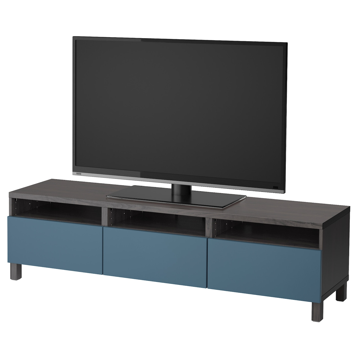 Best Tv Bench With Drawers Black Brown Valviken Dark Blue 180x40x48 Cm Ikea