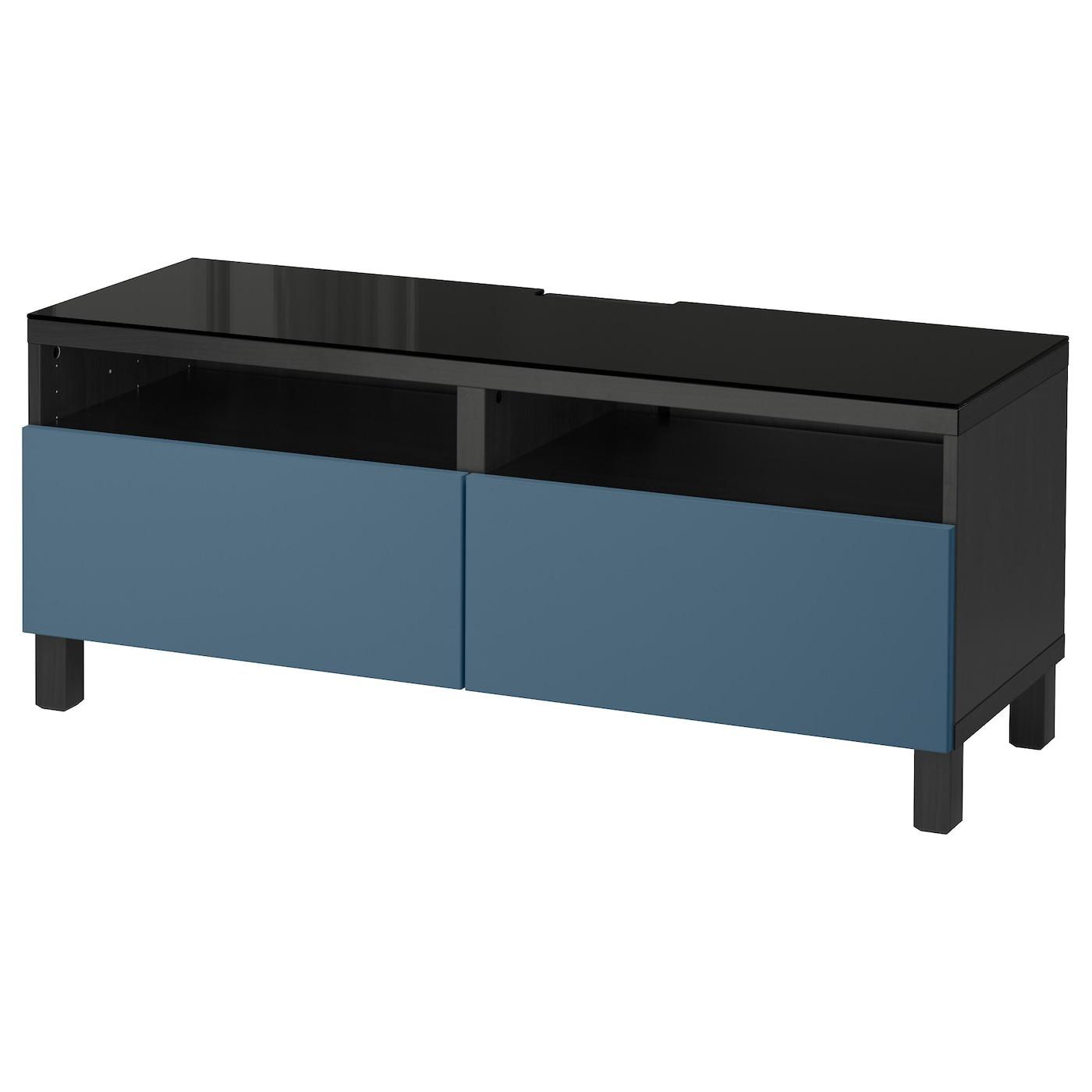 Best Tv Bench With Drawers Black Brown Valviken Dark Blue 120x40x48 Cm Ikea
