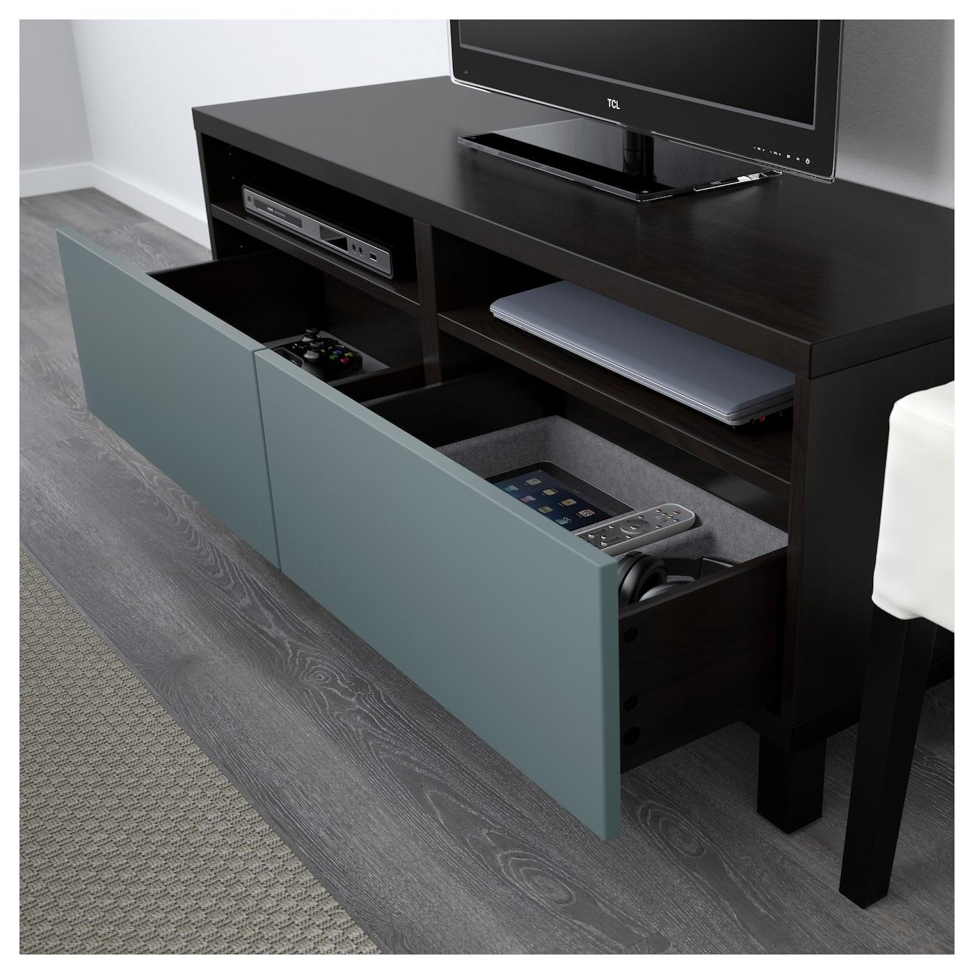 Best Tv Bench With Drawers Black Brown Valviken Grey