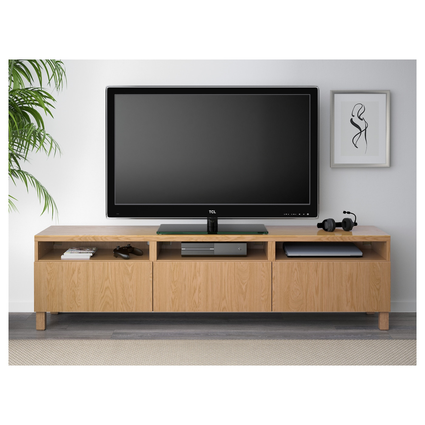 Best Tv Bench With Drawers Lappviken Oak Effect 180x40x48 Cm Ikea # Ikea Meuble Tv Besta