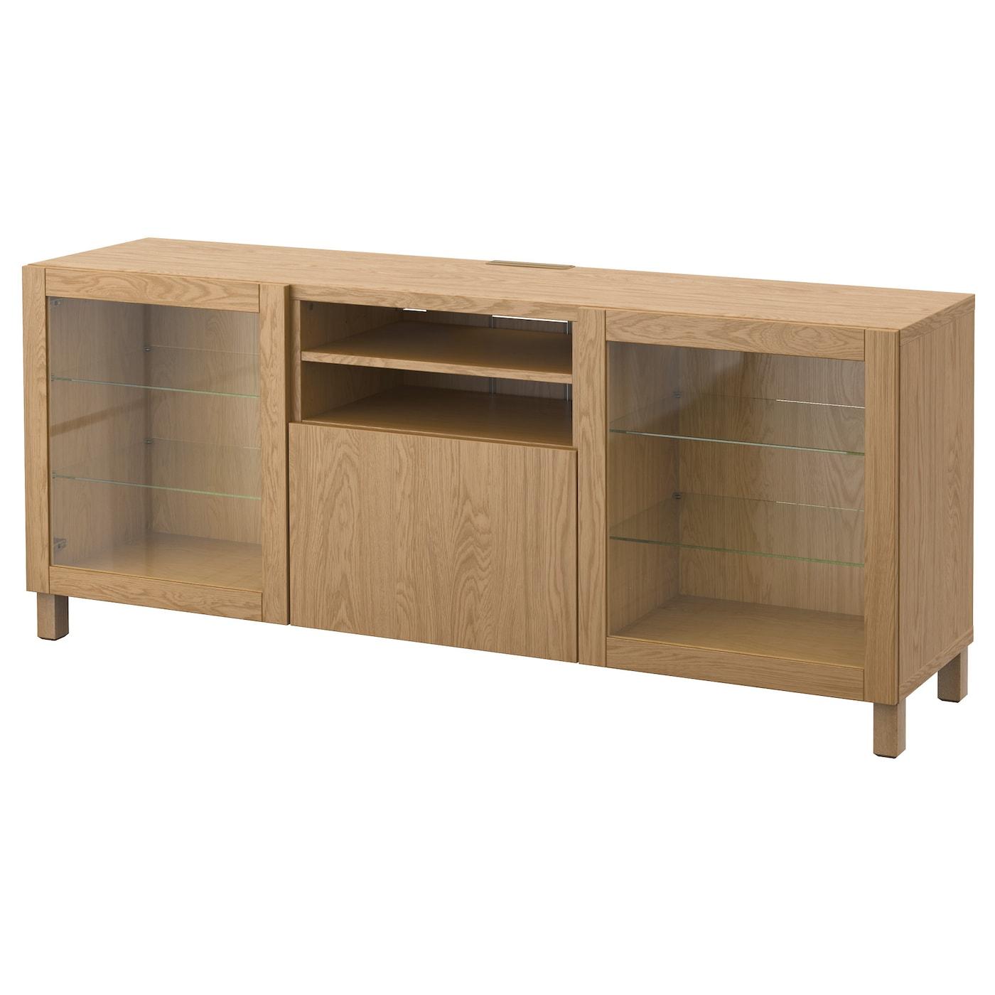 Best Tv Bench With Drawers Lappviken Sindvik Oak Effect Clear Glass 180x40x74 Cm Ikea