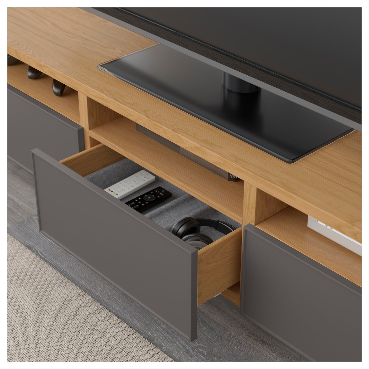 IKEA BESTÅ TV bench with drawers Three large drawers make it easy to keep your belongings organised.
