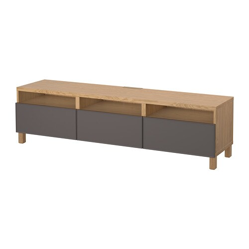 best tv bench with drawers oak effect grundsviken dark grey 180 x 40 x 48 cm ikea. Black Bedroom Furniture Sets. Home Design Ideas