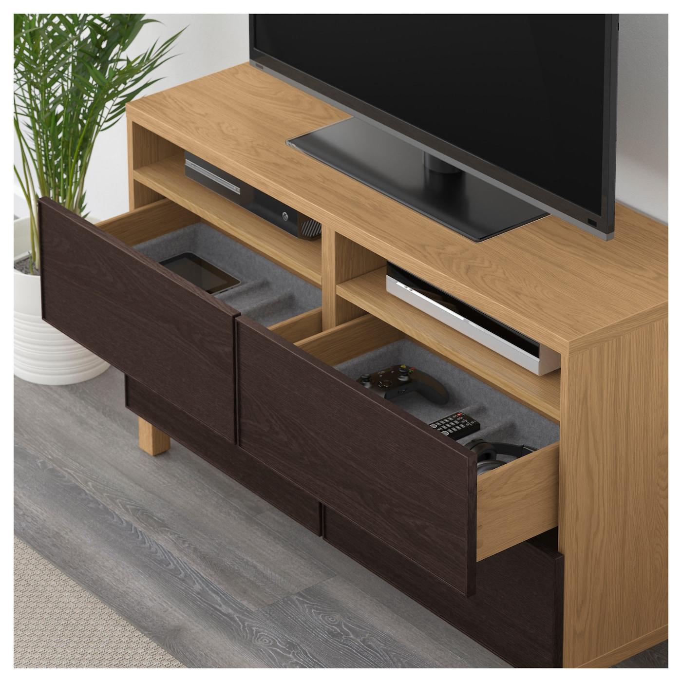 Best Tv Bench With Drawers Oak Effect Inviken Black Brown 120x40x74 Cm Ikea