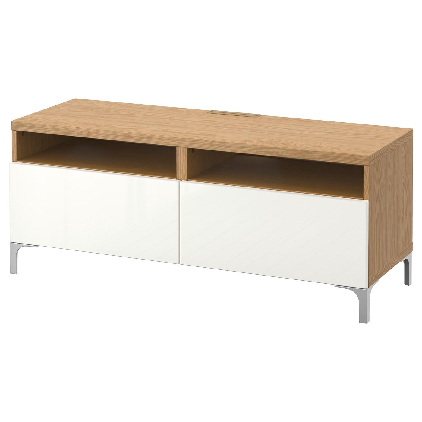 Best Tv Bench With Drawers Oak Effect Selsviken High Gloss White 120x40x48 Cm Ikea