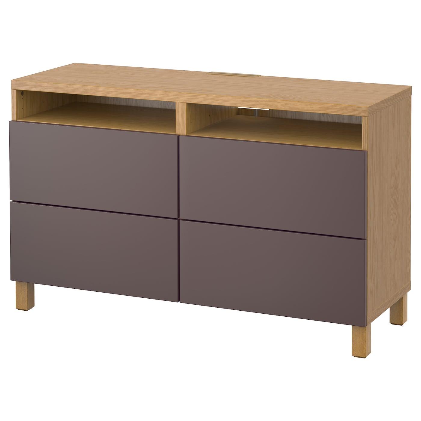 Best Tv Bench With Drawers Oak Effect Valviken Dark Brown 120x40x74 Cm Ikea